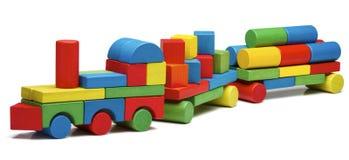 Toy train goods van, wooden blocks cargo railway transportation. Isolated white background Royalty Free Stock Photography