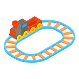 Toy train icon, cartoon style. Toy train icon in cartoon style isolated on white background vector illustration Stock Image