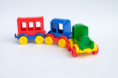 Toy train isolated on the white background royalty free stock image