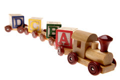 Toy train and learning blocks Stock Photos