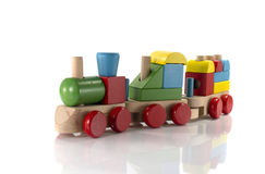 Toy train made from wood. With colorful blocs stock image