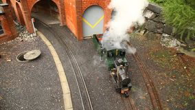 Toy train miniature Shed in Swiss stock video