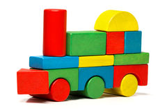 Toy train, multicolor locomotive wooden blocks transport Royalty Free Stock Images