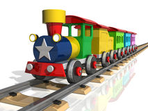 Toy train with multicolored carriages. 3d render. Toy train with multicolored carriages on a white background. 3d render Royalty Free Stock Image