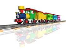 Toy train with multicolored carriages. 3d render Royalty Free Stock Photography