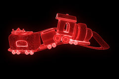 Toy Train nello stile di Wireframe dell'ologramma Rappresentazione piacevole 3D illustrazione vettoriale