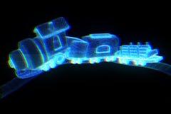 Toy Train nello stile di Wireframe dell'ologramma Rappresentazione piacevole 3D Immagine Stock Libera da Diritti