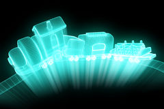 Toy Train nello stile di Wireframe dell'ologramma Rappresentazione piacevole 3D Fotografia Stock Libera da Diritti