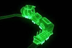 Toy Train no estilo de Wireframe do holograma Rendição 3D agradável Imagens de Stock Royalty Free
