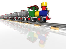 Toy train with oil tanks. 3d render Royalty Free Stock Image