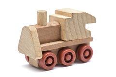 Toy Train op een witte achtergrond wordt geïsoleerd die Voortbewegings, houten die trein, stuk speelgoed op een witte achtergrond stock afbeelding