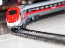 Toy train over railway royalty free stock photos