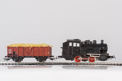 Toy train with pasta. Pictured items of a toy railroad Stock Images