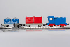 Toy train. Pictured items of a toy railroad Royalty Free Stock Photography