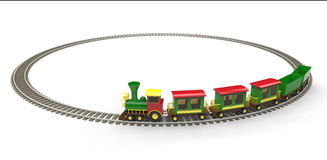 Toy train. Plastic toy train on white background Royalty Free Stock Photos