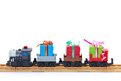 Toy train with presents Royalty Free Stock Photography