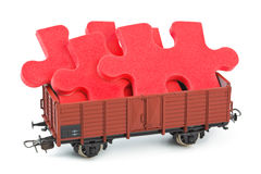 Toy train with puzzle Stock Image