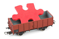 Toy train with puzzle Royalty Free Stock Images