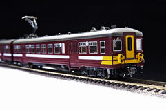 Toy train and railroad Royalty Free Stock Photo