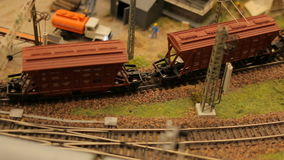 Toy train railroad town focus. Close-upToy train railroad town focus stock video footage