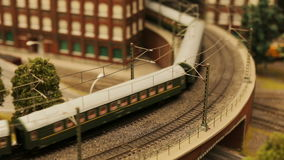 Toy train railroad town focus. Close-upToy train railroad town focus stock footage