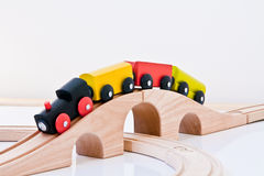 Toy Train on Railway. Toy wooden train on railway, background stock photos