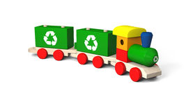 Toy train with recycling symbols Stock Photography