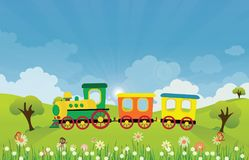 Toy train riding on Spring summer meadow landscape with sun rays stock illustration
