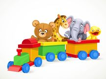 Toy train with soft toys on the train Stock Photography
