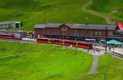 Toy train station royalty free stock photos
