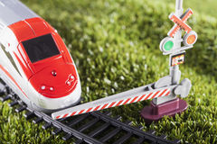 Toy train stopped Royalty Free Stock Images