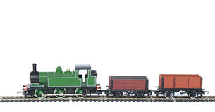 Toy Train with trucks studio isolated. Toy Train with trucks on white royalty free stock photography