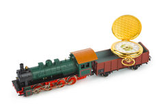 Toy train with watch Stock Photos