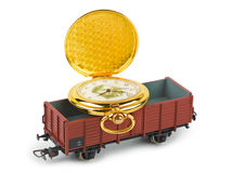 Toy train with watch royalty free stock photos