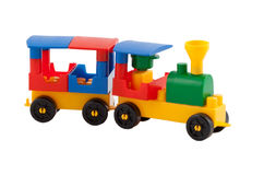 Toy train on white background Royalty Free Stock Images