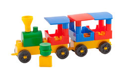 Toy train on white background Royalty Free Stock Photo