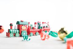 Toy train on white background. For christmas Stock Photo