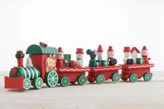 Toy train on wooden for christmas. Toy train on wooden background for christmas Royalty Free Stock Photos