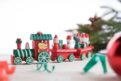 Toy train on wooden for christmas. Toy train on wooden background for christmas Royalty Free Stock Images