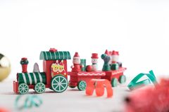 Toy train on wooden for christmas. Toy train on wooden background for christmas Stock Image