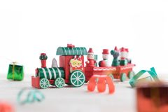 Toy train on wooden for christmas. Toy train on wooden background for christmas Royalty Free Stock Photo