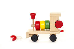Toy Train. Wooden color Toy Train on a white background Stock Photo