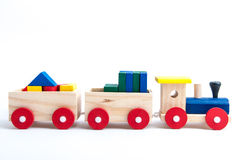 Toy train. Wooden toy train  on white background Stock Images