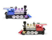 Toy Trains. On Isolated White Background Royalty Free Stock Photography