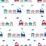 Toy trains seamless pattern. Royalty Free Stock Images