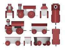 Toy trains set. Customizable set. Locomotive and carriages in various perspectives. Create your own toy train Royalty Free Stock Photography