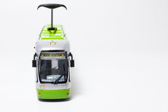 Toy tram. A toy tram isolated on a white background. Front view Royalty Free Stock Image