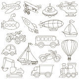 Toy Transport Set cartoon. Page to be colored. Royalty Free Stock Photo