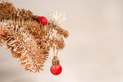 Toy tree branches with toys. Vintage toy tree branches with toys for Christmas Stock Images