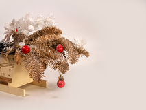 Toy tree branches with toys. Vintage toy tree branches with toys for Christmas Royalty Free Stock Photo